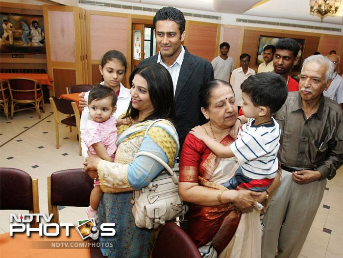 File photo (2007) of Anil Kumble with his family.
