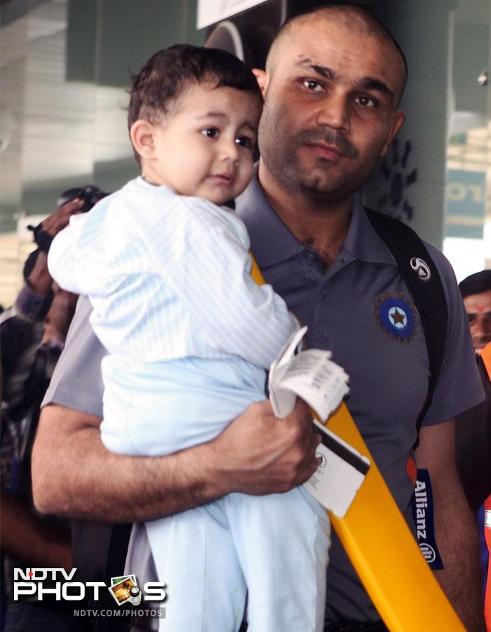 File photo (2008) of Virender Sehwag with his son Aryavir.
