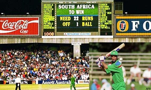South Africa were re-admitted in international cricket after the end of the 'Apartheid' policy and they impressed everyone with their all-round display in the 1992 World Cup. Having made their way to the semi-finals, South Africa faced a stiff challenge from the English side and were left to chase a target of 253 runs in 45 overs.<br><br>Their dream of making it to the final was shattered when a crazy rain-rule robbed them of a legitimate chance to do so. The Proteas needed 22 runs from 13 balls when rain interrupted the proceedings. After the delay, they were given an impossible target of 21 runs to chase from just 1 ball. This left the South African bunch disgruntled and frustrated as the English marched on into the final.<br><br>This rain rule though would not be used for ODIs any further as it was eventually superseded by the Duckworth/Lewis System in the 1999 ICC World Cup. Calculations made later have suggested that according to the D/L Method, South Africa would need 4 runs off the last ball to tie the match and 5 runs to win it. This is undoubtedly one of the biggest official fiascos in cricket.