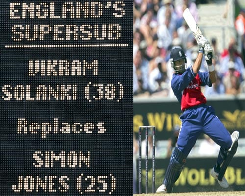 CC introduced this experimental One-Day International rule in July 2005, the twelfth man in each side became a substitute, able to come on and replace any player. The substitute was able to take over the substituted player's batting and bowling duties. The term used for this substitute player was 'Supersub'.<br><br>The first supersub was Vikram Solanki, who replaced Simon Jones at Headingley on 7 July 2005. However, as Solanki replaced Jones after England had bowled, and England only lost one wicket in chasing down Australia's target, Solanki did not get to play any part in the game. The ICC cancelled the experiment in February 2006.