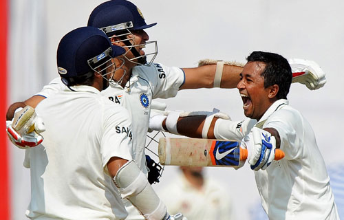 Once again, the graceful batsman, playing with a painful back, steered India to an incredible run-chase of 216. He batted with Pragyan Ojha (runner) all through his knock. He batted as low as number ten in the first, but came out at 7 in the second innings. <i>(Text Courtesy: Mid-Day.com)</i>