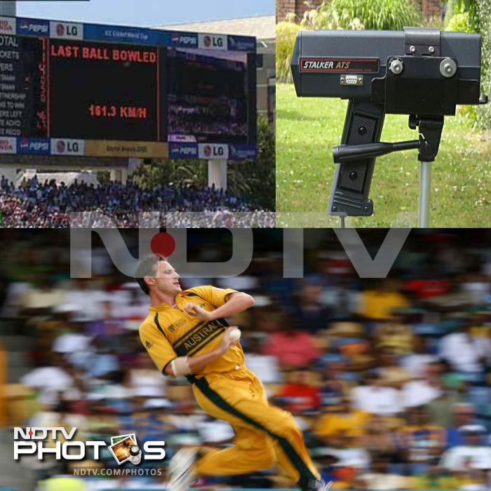 It is a small Doppler radar unit that is used to detect speed of the moving objects. It is commonly used to determine bowling speeds in a cricket broadcast.