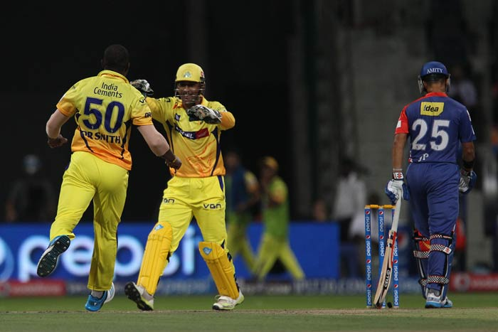 Skipper Dinesh Karthik (21) and JP Duminy (15) tried to resurrect the Daredevils' chase with a 25-run stand for the fourth wicket but it was not to be as wickets continued to tumble like pack of cards. Duminy was caught plumb in front of the wicket by Dwayne Smith of his first ball before Ben Hilfenhaus induced an edge from an out-of-form Ross Taylor which was gleefully accepted by MS Dhoni.