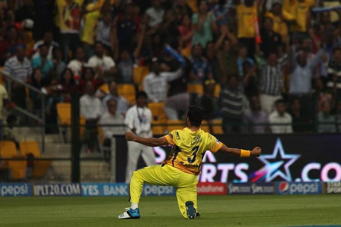Young Ishwar Pandey was impressive on his IPL debut. He struck the first blow in only his second over by removing Mayank Agarwal. Agarwal was brilliantly caught by a running Raina at cover as the batsman went for an inside-out shot.