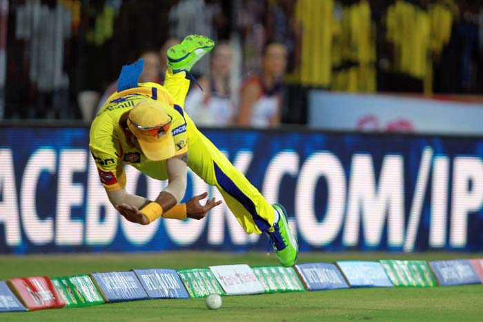 Chennai were brilliant in the field as ever. Badrinath seen here diving to save a boundary. (BCCI Image)