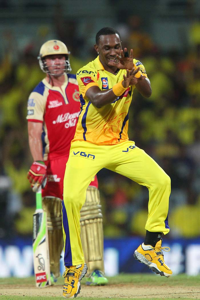 Bangalore started to stumble as De Villiers got stuck at the other end and Bravo then removed Ravi Rampaul for a duck. (BCCI Image)