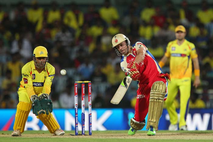 Even De Villiers came into his own after that with a flurry of boundaries off Bravo and Nannes to bring RCB's innings back on track. (BCCI Image)