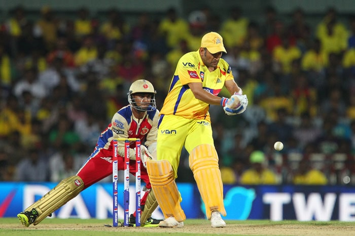 MS Dhoni and Ravindra Jadeja decided to play cautiously for a few overs before the skipper cut loose in Ravi Rampaul's third. He dispatched him for a four and a humongous hit to the roof of the MA Chidambaram stadium. (BCCI Image)