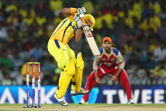 Experienced S Badrinath and Suresh Raina then hit the ground running for Chennai to counter-attack after early jolts. While Badri was a bit lucky with RP Singh putting down a sitter off Vinay Kumar, Raina looked in prime form blasting boundaries all around the Chepauk with style. (BCCI Image)