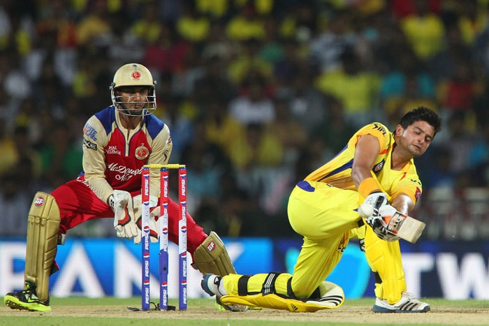 All seemed hunky-dory for Chennai at 66/2 when Bangalore introduced Syed Mohammad, who was playing in place of KL Rahul. He first removed Raina for 30 off 22 balls, who, looking to clear mid-wicket got a top edge, giving a simple catch to Murali Kartik at short thirdman. (BCCI Image)