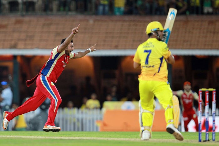 29 needed off two overs, Rampaul struck twice to send Dhoni and Dwayne Bravo back. However, a cool-headed Jadeja ensured that it was Chennai's game from there on. (BCCI Image)