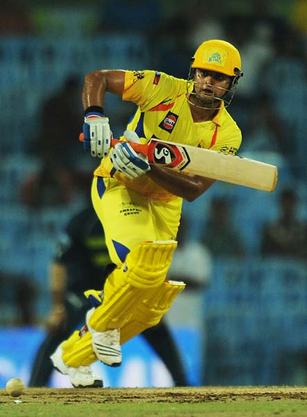 Chennai Super Kings batsman Suresh Raina plays a shot during the IPL Twenty20 match against Deccan Chargers at the M.A. Chidambaram Stadium in Chennai. (AFP PHOTO)