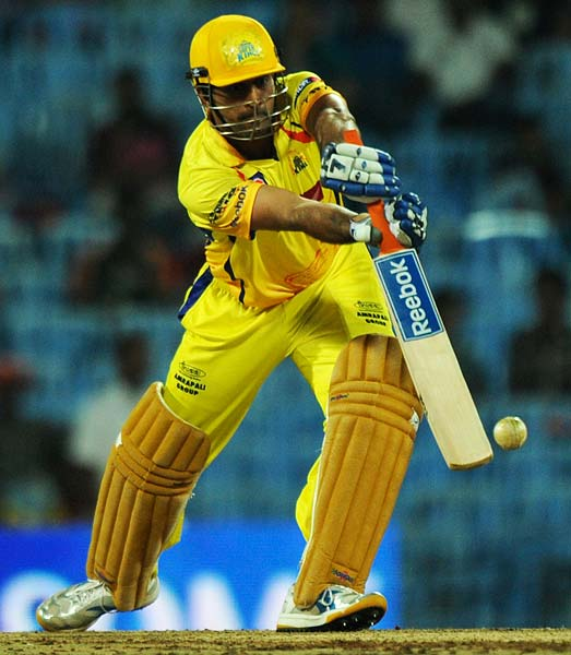 Chennai Super Kings captain MS Dhoni plays a shot during the IPL Twenty20 match against Deccan Chargers at the M.A. Chidambaram Stadium in Chennai. (AFP PHOTO)