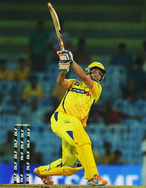 Chennai Super Kings batsman Albie Morkel plays a shot during the IPL Twenty20 match against Deccan Chargers at the M.A. Chidambaram Stadium in Chennai. (AFP PHOTO)