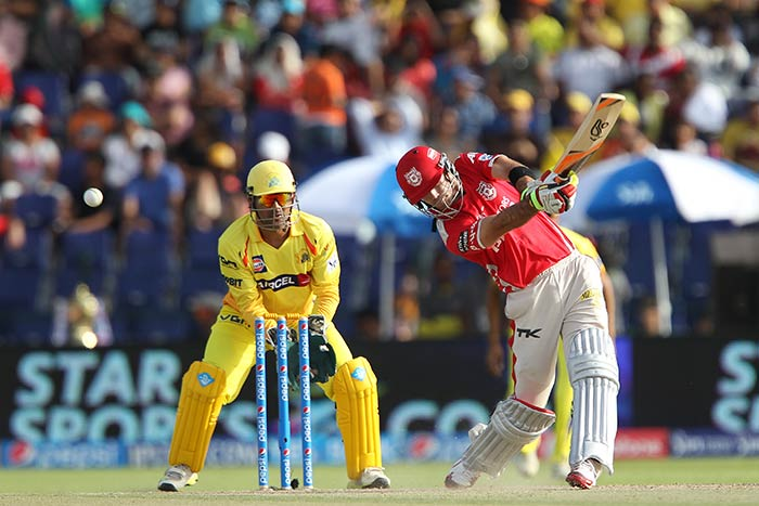 Glenn Maxwell displayed explosive transition from being a bench-warmer for Mumbai Indians to a game changer for Kings XI Punjab in a single match. (All images courtesy: BCCI)