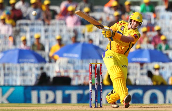 Michael Hussey was looking in awesome knick as he hit 35 runs. (Image credit BCCI)