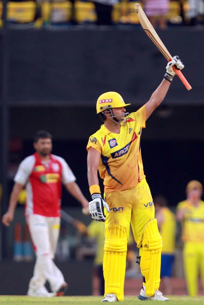 Suresh Raina reached his maiden IPL ton off 53 balls and powered Chennai to 186/4. (Image credit BCCI)