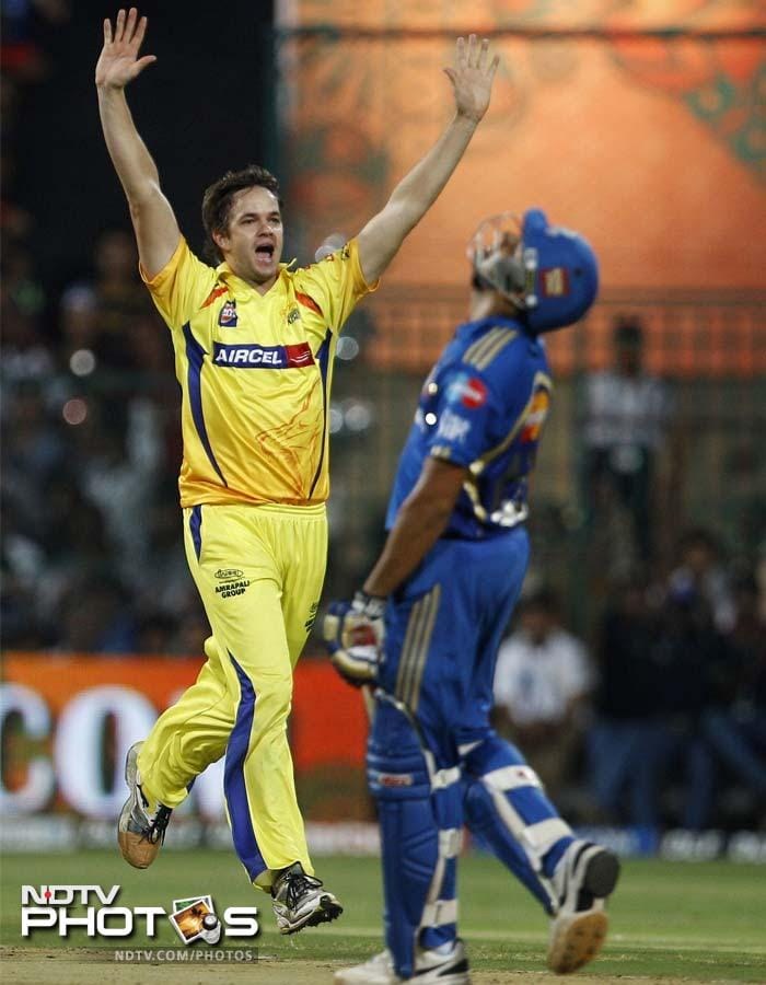 Albie Morkel didn't get a chance to show his fireworks with the bat but made up for that by claiming the crucial wickets of Rohit Sharma and Dinesh Karthik. (AP Photo/Aijaz Rahi)