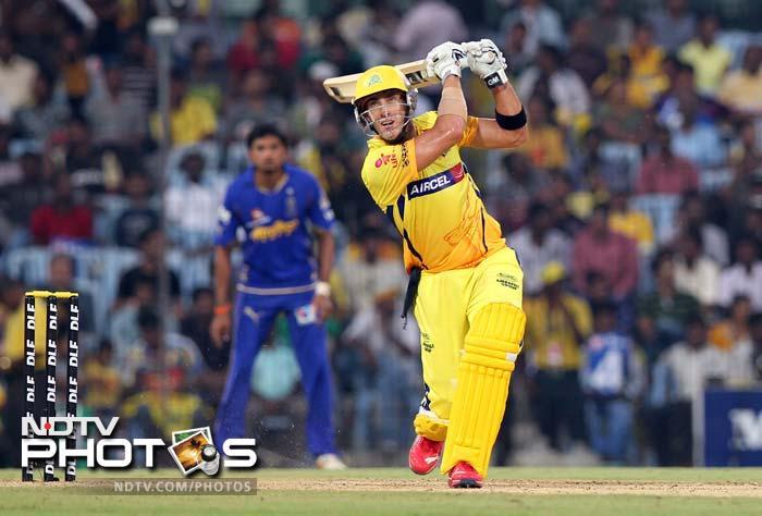 Chennai Super Kings batsman Francois Du Plessis hits a six during the IPL Twenty20 cricket match against Rajasthan Royals at the M.A.Chidambaram Stadium in Chennai. (AFP PHOTO/Seshadri SUKUMAR)