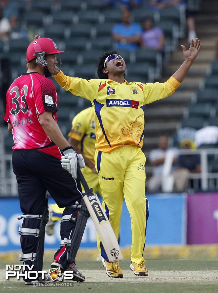 Ravindra Jadeja exults after trapping Michael Lumb right in front. Sydney players rallied around the in form Watson as the other top scorer in first 5 batsmen was 26.