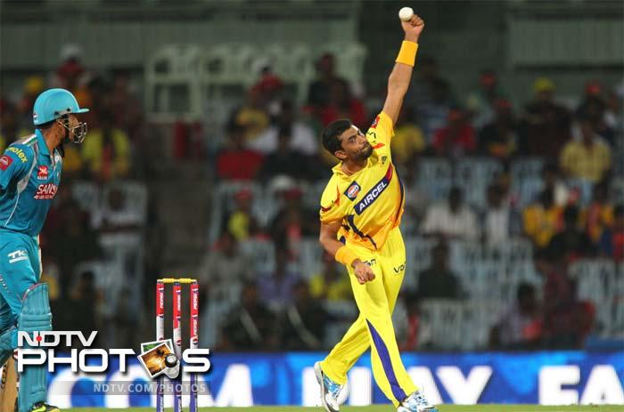 Chennai Super Kings all-rounder Ravindra Jadeja in action against Pune Warriors. He bagged 1 wicket for 27 runs. (BCCI image)