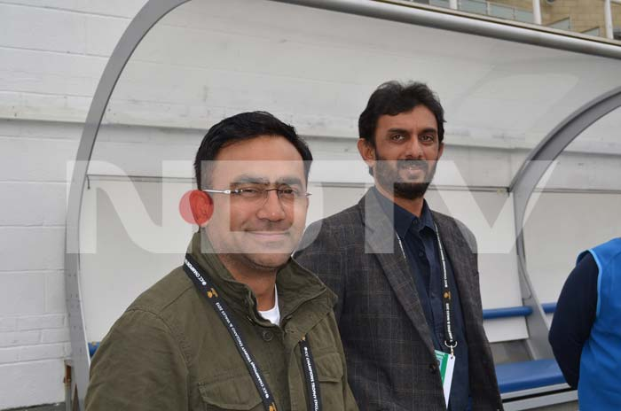 Saba Karim and Vikram Rathore share a light moment as they take a break from their duties as National Selectors.