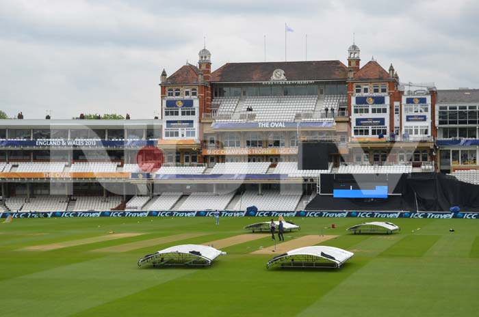 The pavilion at The Oval as the shadows are cast from the clouds.