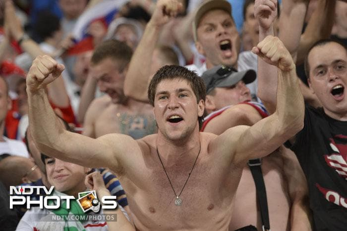 Russian supporters were given enough reasons to celebrate during the game. (AFP PHOTO / FABRICE COFFRINI)