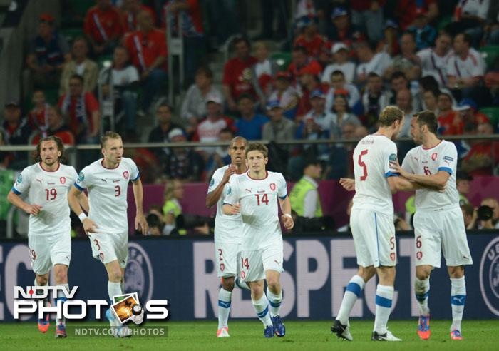 Czech Republic were handed a lifeline by midfielder Vaclav Pilar, 7 minutes into the second half. Czech midfielder Pilar (C) is seen celebrating with team-mates after pegging one goal back for the Czechs. (AFP PHOTO / DANIEL MIHAILESCU)