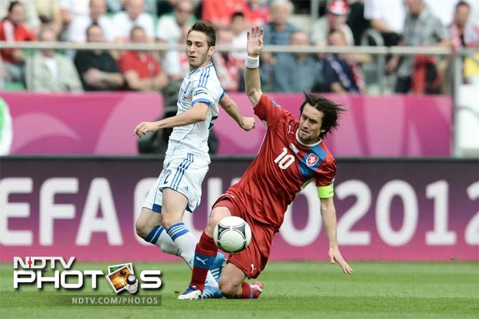 However, the second-half got off in the worst possible manner with Tomas Rosicky (right) - the Czechs most influential player thus far - failing to appear as he was found to be suffering from an apparent Achilles tendon injury.