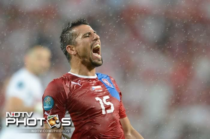 Czech forward Milan Baros reacts during the Euro 2012 championships football match against Poland in Wroclaw.