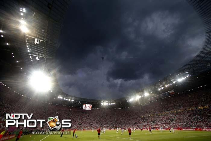 Dark clouds hover over the stadium before the Euro 2012 soccer championship Group A match between Czech Republic and Poland in Wroclaw.