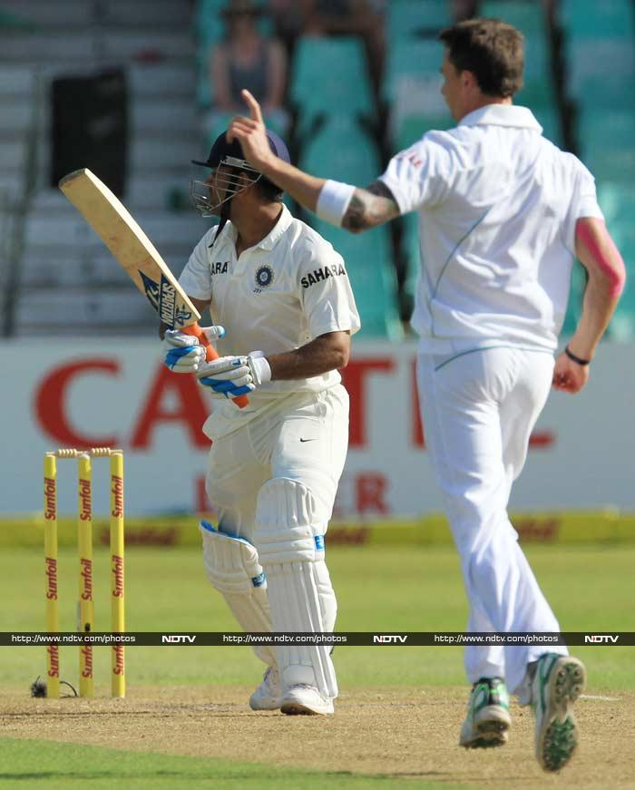 India skipper MS Dhoni was the next to fall in Steyn's kitty after a watchful 40-ball 24 run stay.