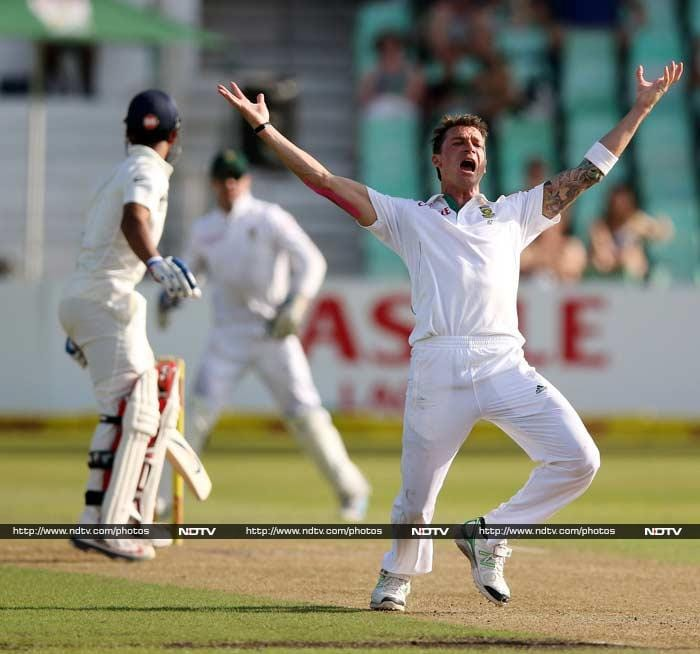 He may have been wicket-less for a little more than 69 overs but Dale Steyn tastes blood on Day 2 of the second Test against India. <br><br>Once he did, there was no stopping him as he hunted down five more to puncture the innings. A look at each of his six victims. <br><br> Images courtesy: AFP and AP.