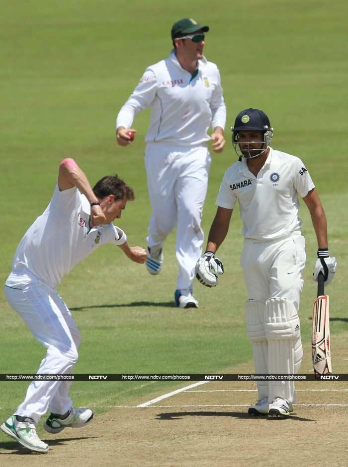 Off the very next delivery, Steyn made a mess of the stumps behind Rohit Sharma who let the ball through without a hint that it was aimed straight for the wicket.