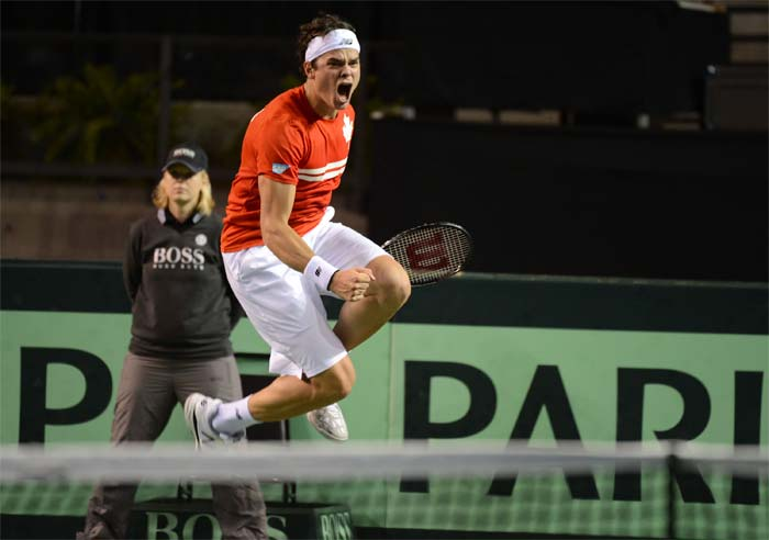 Milos Raonic could not have jumped any higher. <br><br>He is seen here expressing his feelings after defeating Andreas Seppi of Italy.