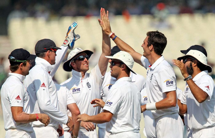 What followed was a trail of Indian batsmen making their way back to the pavillion. Steven Finn is seen here celebrating the wicket of Virat Kohli. (Image courtesy: BCCI)