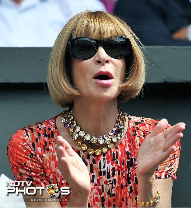 Anna Wintour, US Vogue editor in chief, was also at the Centre Court to watch Sharapova and Lisicki in action. (AFP Photo)