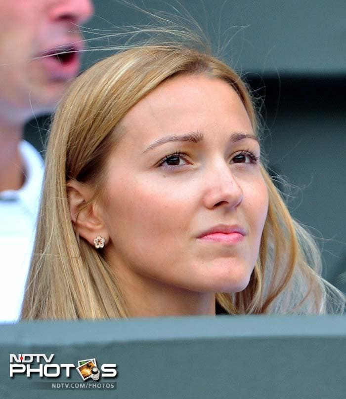 Jelena Ristic, partner of Djokovic also attended the semi-final game. (AFP Photo)