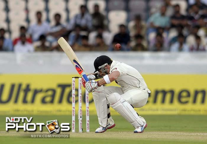 New Zealand's reply was iffy at best. Though Brendon McCullum (in pic) smashed Zaheer Khan to the boundary off the first delivery, he eventually caved in to the spin.