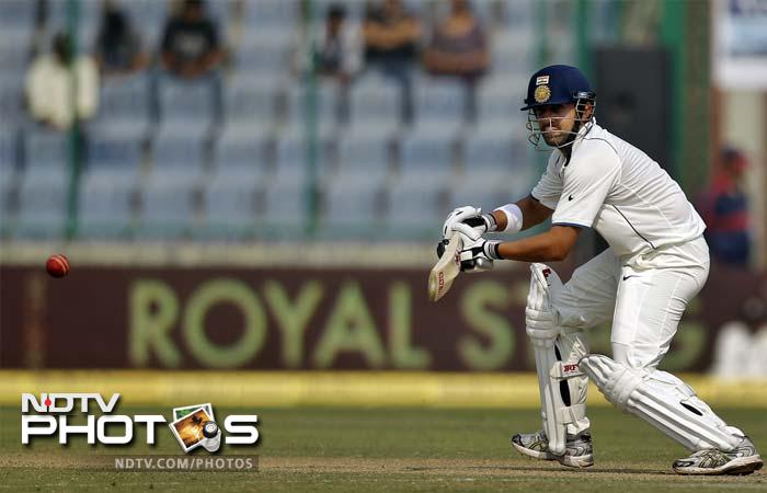 Gautam Gambhir hit a run-a-ball 41 but was run out after Darren Sammy got a faint touch to a straight drive from Virender Sehwag.