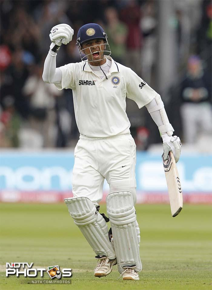 Dravid though, managed to bring up his 33rd Test century as India folded on 286. England were 5/0 at stumps with a lead of 193 in the second innings.