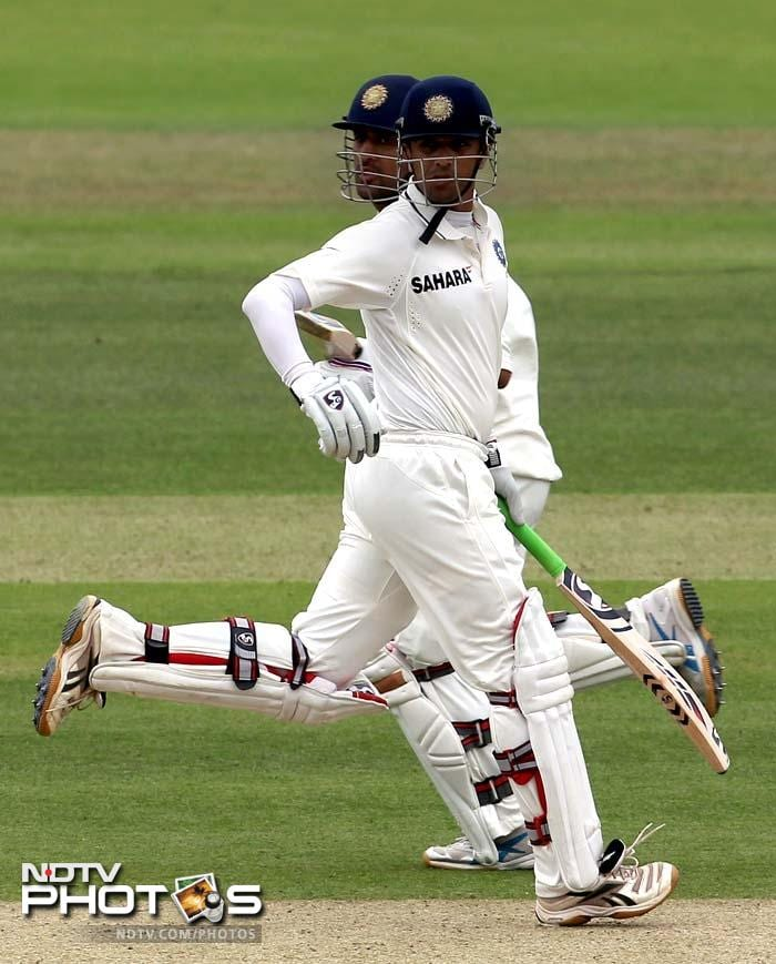 The two stitched together 57 runs for the 6th wicket before Dhoni was removed from the crease by Tremlett.