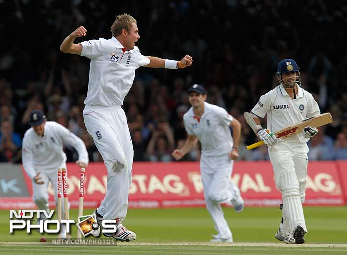 The first breakthrough came when Stuart Broad fired one in to rattle the timber as Gambhir was removed on 15 with only a single boundary to his credit.