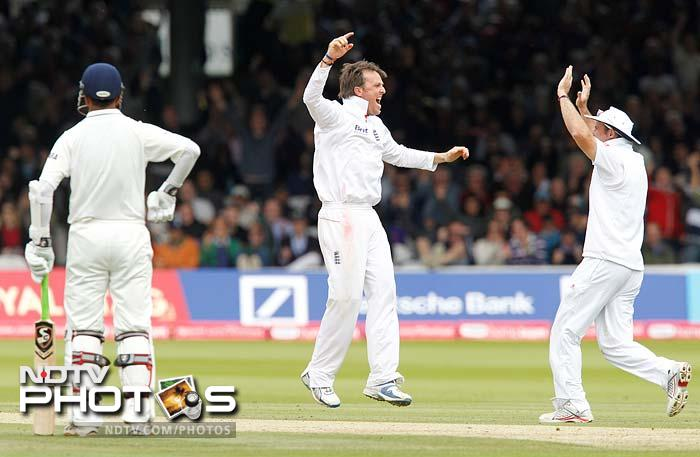 In walked Suresh Raina and promptly surrendered to Graeme Swann without opening his account. He was caught leg before the wicket as India ended the second session on 193 for 5.