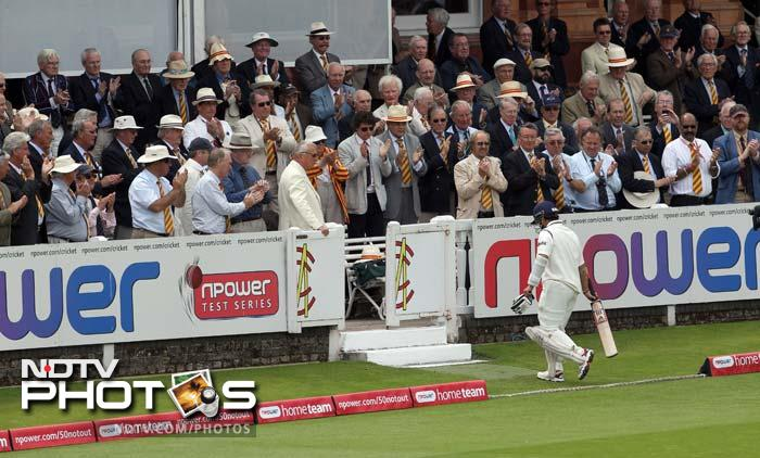 The long walk back to the pavilion was silently applauded by the crowd even though Sachin also failed to better his highest Test score at Lord's by 3 runs.
