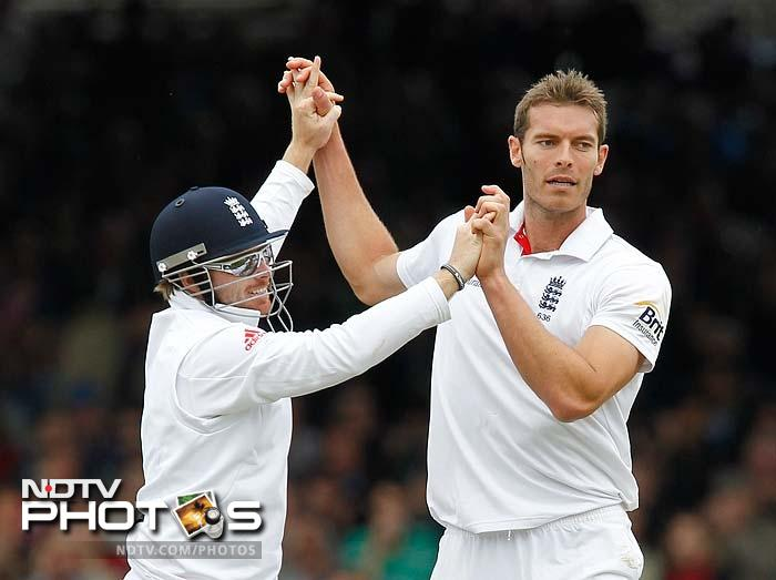 Tremlett punctured another hole immediately after, sending Harbhajan back for a duck to push India back again in what was reflective of a see-saw battle.