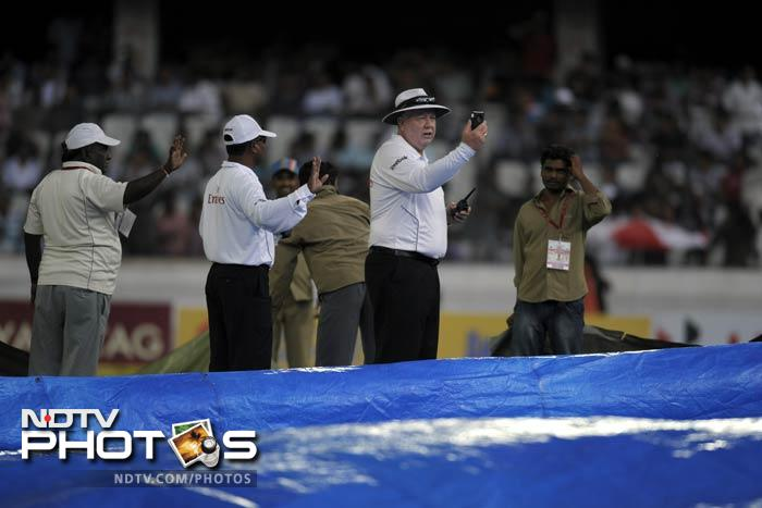 Losing a Test in three days was an embarrassment that the visitors here in Hyderabad were not going to face as heavy rain lashed the stadium. The umpires eventually had no other option but to call off the day's play with New Zealand on 41/1, trailing India by 238.