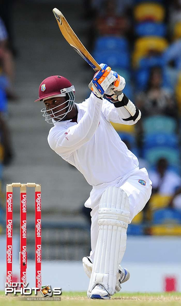 Marlon Samuels played a gritty knock of 78 not out to keep the Windies alive, but in the end ran out of partners. (AFP Photo)