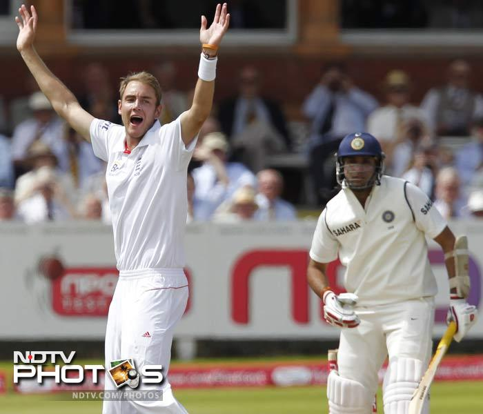 Stuart Broad kept the pressure up from the other end but it was Anderson who returned to remove Laxman from the middle.